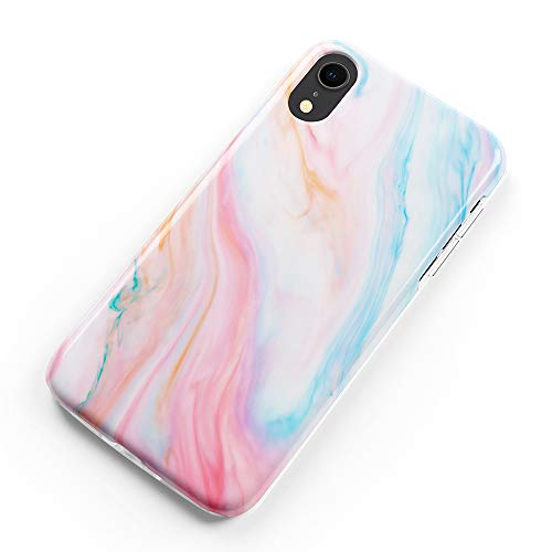 uCOLOR Case Compatible with iPhone XR Pastel Pink Blue Marble Matte Slim Soft TPU Silicone Shockproof Cover Compatible for iPhone XR(6.1)