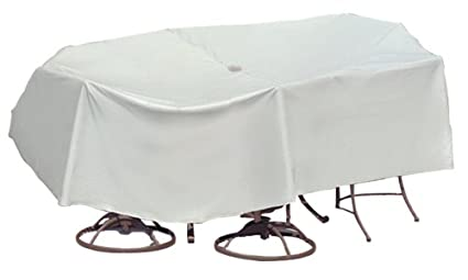 Protective Covers Weatherproof Patio Table and Chair Set Cover, 60 Inch x 66 Inch, Oval/Rectangle Table, Gray