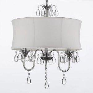 WHITE DRUM SHADE CRYSTAL CEILING CHANDELIER PENDANT LIGHT FIXTURE ...