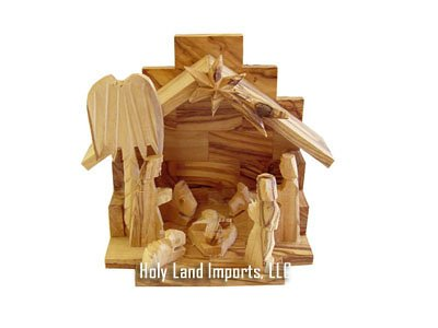 Nativity Set - Olive Wood one piece Christmas small set ( 4.5 Inches high )