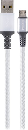 Philips Elite Micro USB Braided Charging Cable with Aluminum Connectors, 3ft (0.9m) Connect/Sync, Compatible with Android, Samsung, HTC, MP3, Tablets, Windows, MAC, Cameras, DLC4203U/37 by Philips
