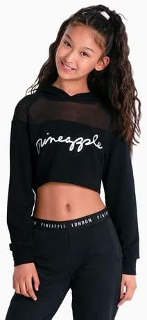 Pineapple Dancewear Girls Mesh Stripe Crop Dance Hoodie Mint Green Silver Logo