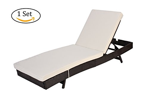 Do4U Adjustable Patio Furniture Rattan Wicker Chaise Lounge Chair Sofa Couch Bed With Cushion Outdoor (Expresso 1Set)
