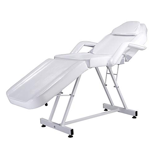 Binlin 75″ Adjustable Massage Table, Beauty Salon SPA Massage Bed Tattoo Chair White