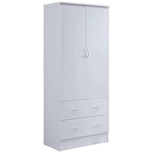 Pemberly Row 2 Door Armoire with 2 Drawer in White - Door 2 Drawer 2 Wardrobe