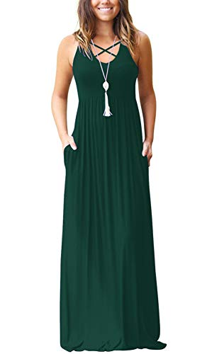 (Women's Sleeveless Racerback Maxi Dresses with Pockets CrissCross Plain Loose Long Dresses Dark Green Large)