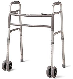 MediChoice Dual-Release Folding Walker/Two Button, Height Adjustable with 5 Inch Wheels, Aluminum, Heavy Duty Bariatric 600 lbs Capacity, 2867BAR806W (1 Each) by MediChoice