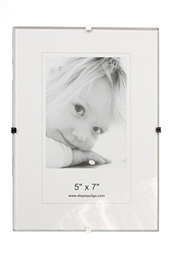 Case of 6, Clip Picture Frames for 5 x 7 Prints, Tempered Glass Front Panel with Chipboard Back, Photo Holders for Tabletop Use Only, Frameless Design