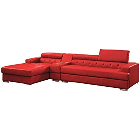 HOMES Inside Out IDF 6122RD CS SEC IoHOMES Sydell Bonded Leather Adjustable Headrest Sectional Red