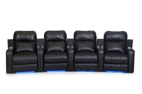 HT Design Southampton Home Theater Seating Curved Row of 4 Power Recline Top Grain Black Leather with LED Cupholders & Base Lighting (Seat 4 Curved)