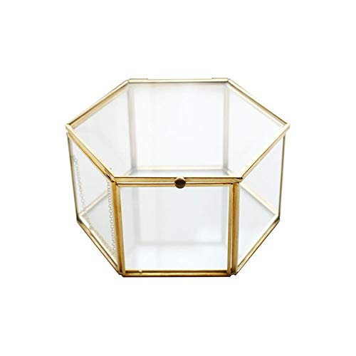 (Jewelry Stand Display Case - Geometric Glass Home Vintage Style Tone Metal Frame Ring/Necklace/Bracelet/Nail Polish Cosmetic Desktop)