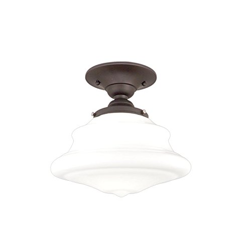 Petersburg 1-Light Semi Flush - Old Bronze Finish with Opal Glossy Glass Shade - Hudson Valley Lighting Bronze Ceiling Fan