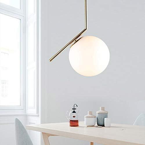 H.Y.FFYH Pendant Light Restaurant Chandelier Simple Living Room Bedroom Study Decoration Lighting Glass Ball Bed Small Chandelier