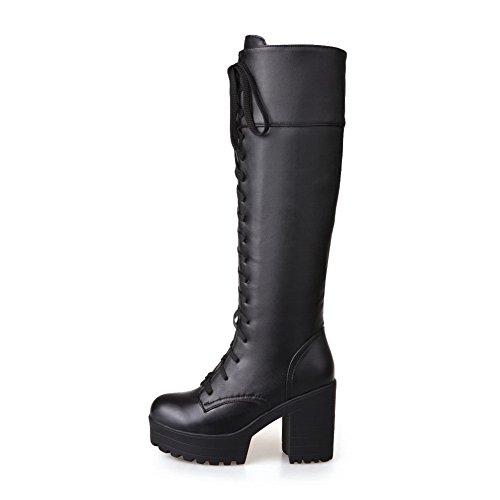 BalaMasa Girls Bandage Chunky Heels Platform Microfiber Boots Black LWwU7v