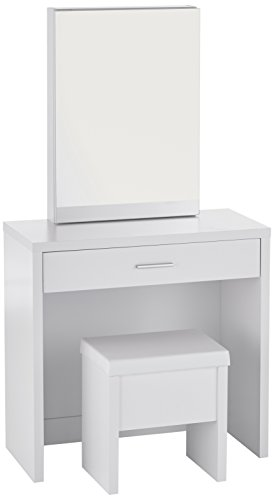 Coaster Contemporary White Vanity and Upholstered Stool (Hidden Mirror Storage)