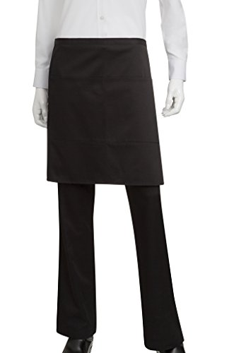 (Chef Works Half Bistro Apron, Black, 19-Inch Length by 30-Inch Width)