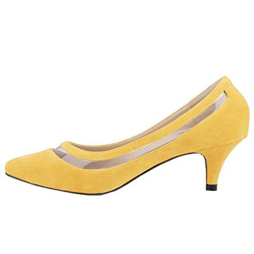 EKS - Zapatos de tacón fino Mujer Amarillo - Gelb-Wildleder