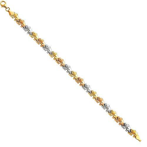 14k Tri Color Gold Elephants Tennis Bracelet