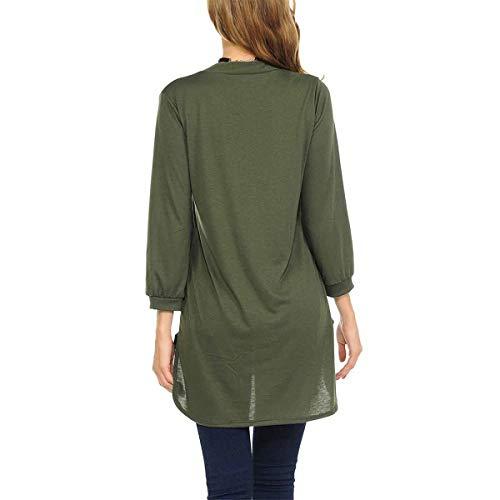 V Con Scollo Corte long L Dimensione Chiffon Green 3 4 Casual A Mid In Maniche shirt colore T Rwq1xp7