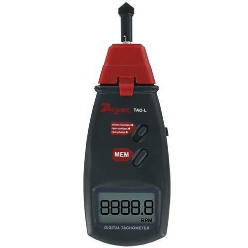 Dwyer Portable Digital Tachometer, TAC-L, Contact/Non-Contact Operation, Backlit LCD