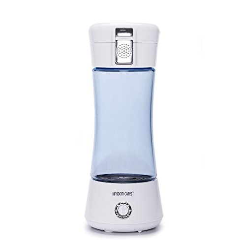 KINGDOMBEAUTY Portable Hydrogen Transparent Water Bottle Cup Recharge Hydrogen Rich Water Ionizer Maker Generator Large Capacity Battery Colorful Light Healthy Water Purifier Filter Treatment Blue