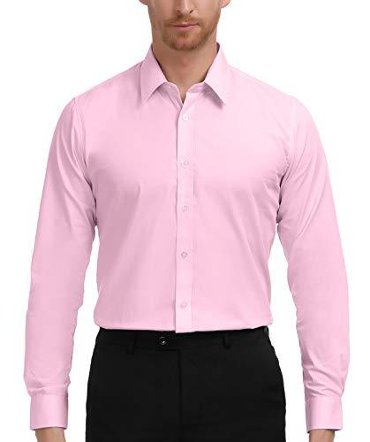 - PAUL JONES Men's Regular Fit Solid Long Sleeve Dress Shirt, Pink