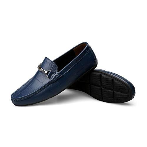 Slip Otoño Zapatos Mocasines Azul Y Formales Cuero Conducción fiesta Comfort Verano ons Zapatos moda De Yaxuan primavera Noche Hombre Negocios FYBwO1x