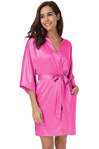 SIORO Women's Satin Robes Silk Kimono Bathrobe for Bride Bridesmaids Wedding Party Loungewear Short,Hot Pink S