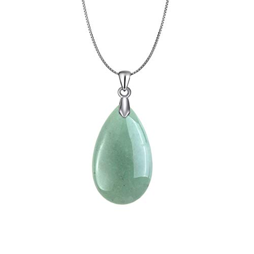 OCARLY 925 Natural Gemstone Drop Pendant Necklace Healing Stone Crystal Chakra Protection Rock Jewelry ()