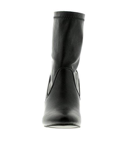 NEU Damen / Damen Ledereffekt Stiefel auf einem hohen Blockabsatz - schwarz - UK Größen 3-8