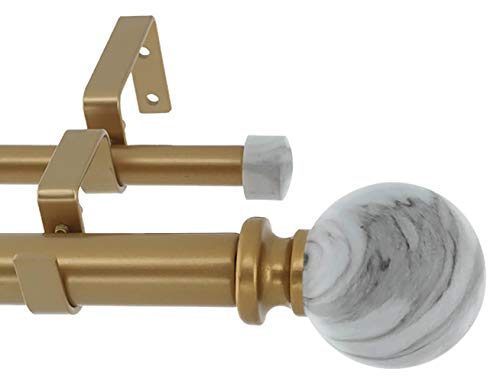 - Meriville 1-Inch Diameter Double Window Treatment Curtain Rod, White Marble Ball Finial, 84-inch to 120-inch Adjustable, Royal Gold