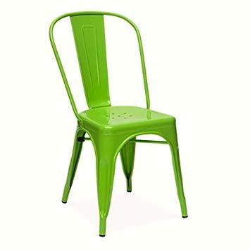 Snug Furniture Cómodos Muebles Metal Sillas Vintage Industrial Metal galvanizado Estilo Bistro Silla de Comedor Asiento Apilable - Verde, Silla ...