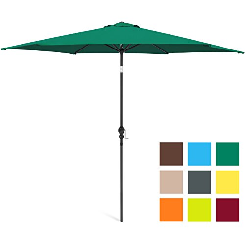Best Choice Products 10ft Steel Market Outdoor Patio Umbrella w/Crank, Tilt Push Button - Green by Best Choice Products