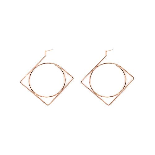 Minimalism Irregular Geometry Square Earrings,Fashion Personality Big Hollow Circular Earrings for Women Girls Party Gifts (Rose gold)