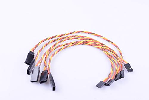 Hengfuntong-Elec 5PCS JR Male to Female Servo and Receiver Extension Twisted Cable Or Wire 22AWG ()