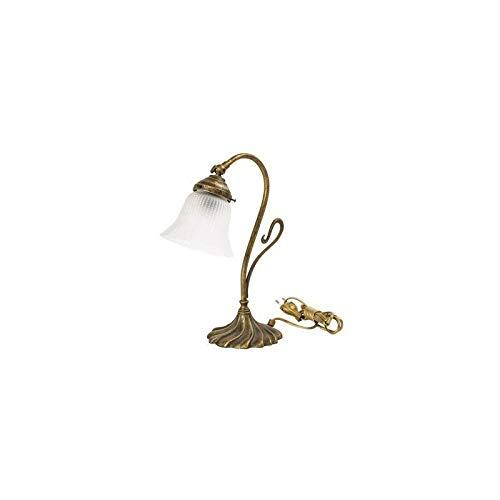 Lámpara de mesa con tulipas latón, acabado pulido con cristal ...