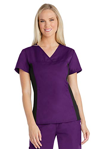 - Cherokee Flexibles Women's V-Neck Solid Scrub Top X-Small Eggplant