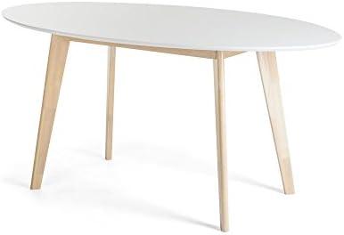 JUSTyou Monet Mesa de comedor Blanco Roble Tamaño 75 x 90 x 160 cm ...