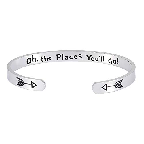 DODIY Inspirational Gift Bracelet Cuff Bangle - Mantra Quote Oh The Places You Will Go Stainless Steel Engraved Motivational Encouragement Jewelry for Women with Hidden Arrows ()