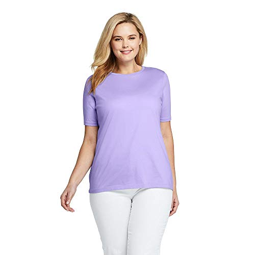 Lands' End Women's Plus Size Supima Cotton Short Sleeve T-Shirt - Relaxed Crewneck, 2X, Light ()