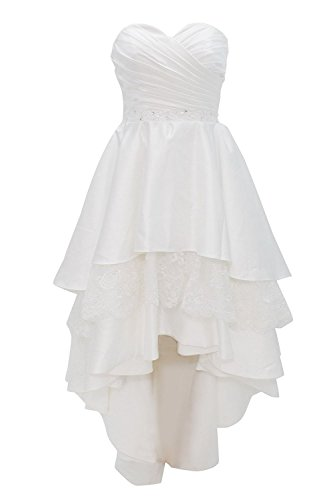Bowknot Short Dresses Wedding Lace Reception Cdress Ivory Gowns Sweetheart Low High Bridal ag4aYFx