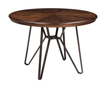 Ashley Furniture Signature Design - Centiar Dining Room Table - Mid Century Modern Style - Round - Rustic Brown ()