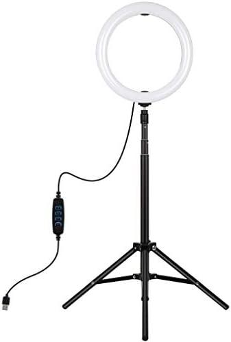 HLosanyy リングライト10.2インチ調光可能なRGBリングライト(メイクアップビデオ用の電話クランプ付き) LEDリングライト ビデオライト 定常光ライト フィルライト 卓上ライト 卓上ライト 輝度と3色温度 USBライト 写真 美容化粧 生放送 ビデオカメラ撮影用 撮影用ライト バレンタインギフト 誕生日プレゼント