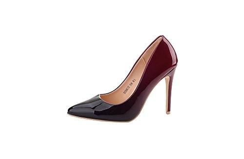 New Womens 4' Heel (Mila Lady (BONNIE08) Women Fashion Embellished Sparkles Contrast color Pointed Toe Pumps High Heel Stilettos Sexy Slip On Dress Shoes , BURGUNDY/RD 6.5)