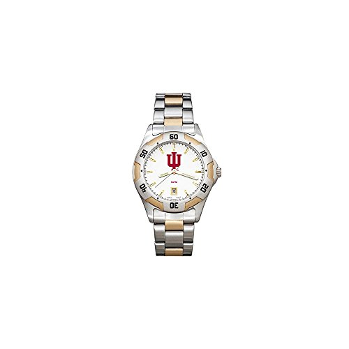 (Collegiate Indiana University INDIANA UNIV ALL-PRO MEN'S TWO-TONE WATCH with BRACELET)