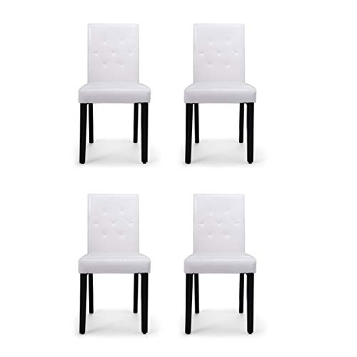 (4-Pack PU Leather Contemporary Modern Dining Chair Armless Kitchen Chair Set White )