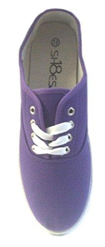 Shoes8teen Schuhe 18 Damen Canvas Schuhe Schnürschuhe Sneakers 18 Farben erhältlich Fallschirm Lila 324