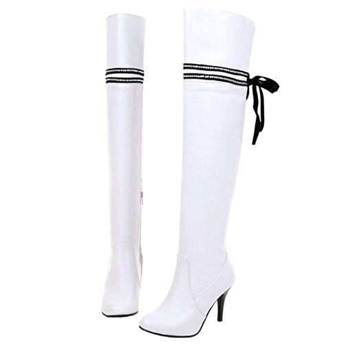 White Women Sexy Knee Large Boots with Fashion SJJH Boots Size Thin and for High Girls Heel Women avTdWcq