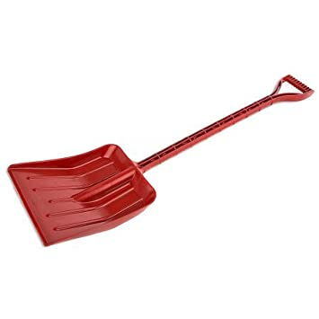 Rocky Mountain Goods Kids Snow Shovel - Perfect sized snow shovel for kids age 3 to 12 - Safer than metal snow shovels - Extra strength single piece plastic bend proof design (Red)