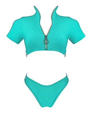 RUUHEE Women Rash Guard Short Sleeve Bathing Suits High Waist 2 Piece Sporty Bikini